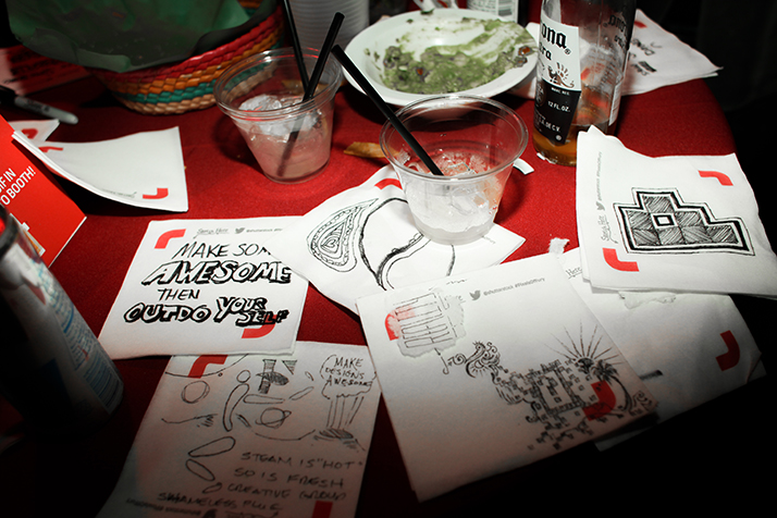 Napkin doodles from the Shutterstock Pixels of Fury Live Creative Battle.