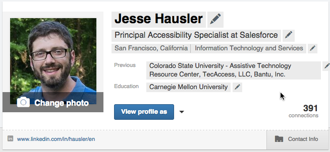 My LinkedIn profile banner with hover states revealed.